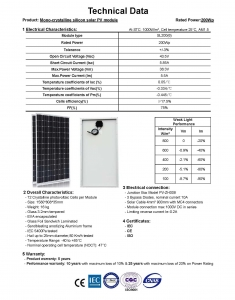 Technical Data of MONO 200W